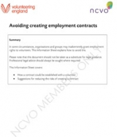 Volunteering Information Sheets: Avoiding creating employment contracts
